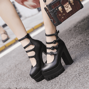 Gothic Black 4 Buckle Strap Platform High-Heels Shoes SP14060