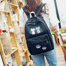 Load image into Gallery viewer, Navy/Green/Pink/Black Loving Couple Cats Backpack SP1710393