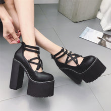 Load image into Gallery viewer, Black/White Pentagram Double Strap Platform High Heels Shoes S13076