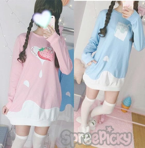 Pink/Blue Strawberry Milk Long Jumper SP154571