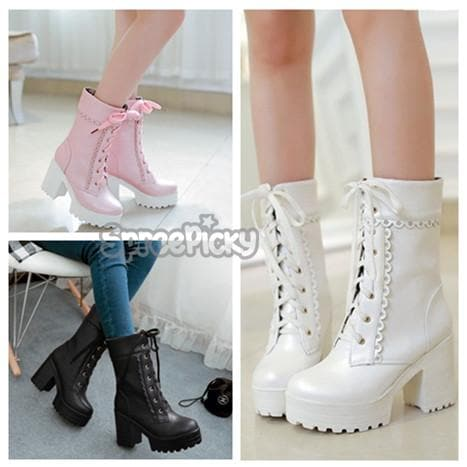 Final Stock! Pink/White/Black Lolita Elegant Boots SP168155