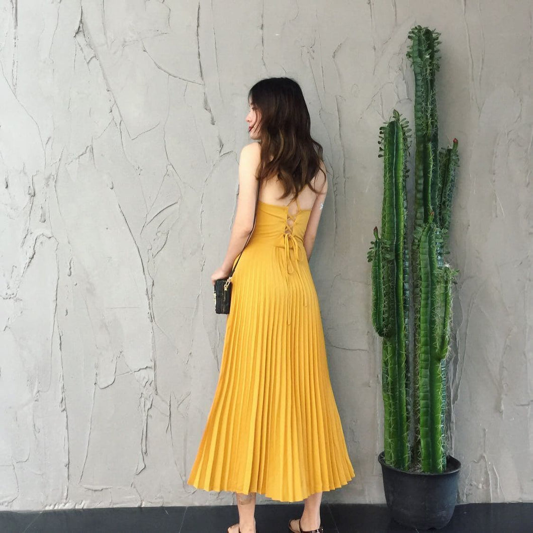 Yellow Chiffon Dress - DelaFur Wholesale