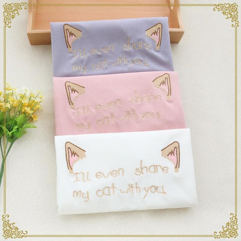 White/Purple/Pink Share My Cat with You T-Shirt SP166953