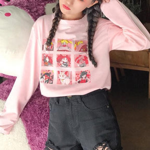 Pink White Yellow Sailor Moon Cute Printed Shirt SP14490 - SpreePicky FreeShipping