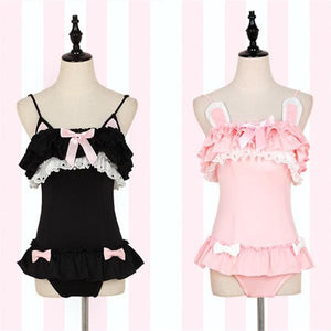 Pink/Black Kawaii Ruffled Kitty One-Piece Swimsuit SP179466