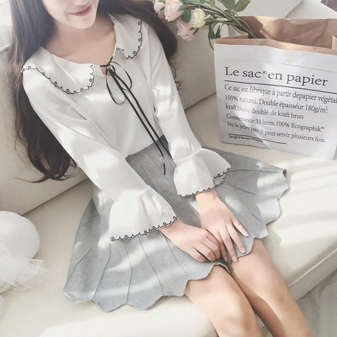 White/Navy Sweet Collared Bow Shirt SP1710691