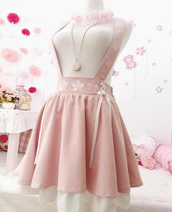 Pink Sakura Suspender Skirt Strap Dress SP14499