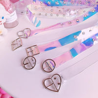 Japanese Harajuku Laser Transparent Heart Round Square Buckle Belt