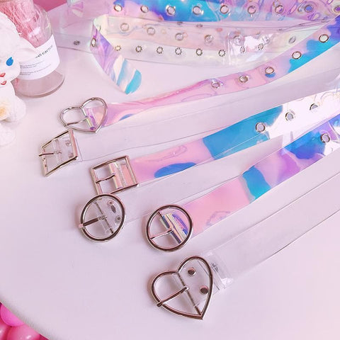 Japanese Harajuku Laser Transparent Heart Round Square Buckle Belt SP13617