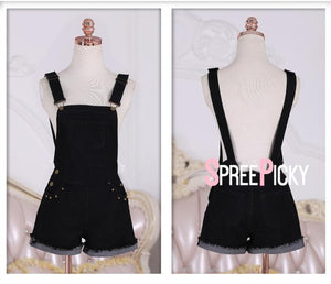 Black Denim Suspender Shorts SP13900