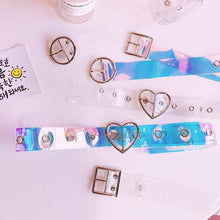 Load image into Gallery viewer, Japanese Harajuku Laser Transparent Heart Round Square Buckle Belt SP13617