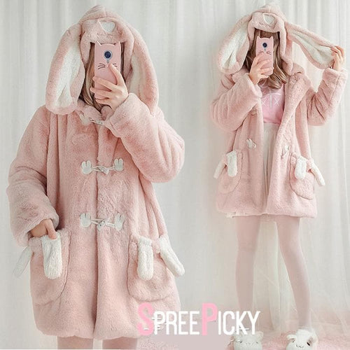 Pink Cute Fluffy Bunny Jacket Coat SP1710981