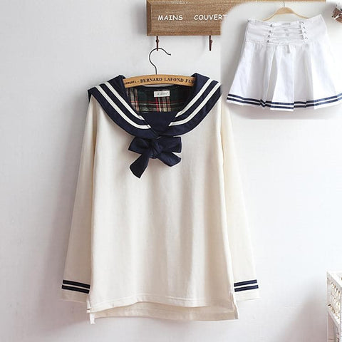 M-XL Beige/Navy Long Sleeve Sailor Top with Skirt Uniform Set SP153608 - SpreePicky  - 13