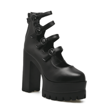 Load image into Gallery viewer, Gothic Black 4 Buckle Strap Platform High-Heels Shoes SP14060