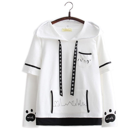 White Kawaii Panda Long Sleeves Hoodie Shirt SP1711005