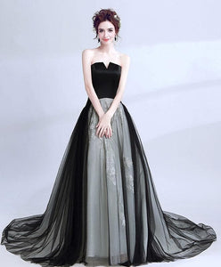 Black Tulle Long Prom Gown, Cheap Evening Dress - DelaFur Wholesale
