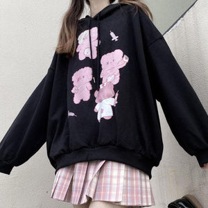 Black Cute Bear Printed Hoodie SP15281