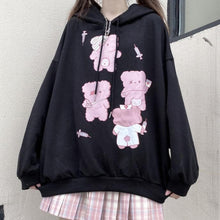 Load image into Gallery viewer, Black Cute Bear Printed Hoodie SP15281