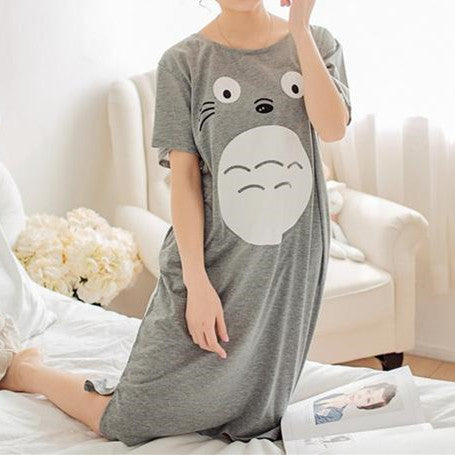Final Stock! Light Grey Kawaii Totoro Long Shirt Homewear SP168473