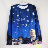 UNISEX Adorable Dreamy Cat Galaxy Sweater Jumper SP141511 - SpreePicky  - 1