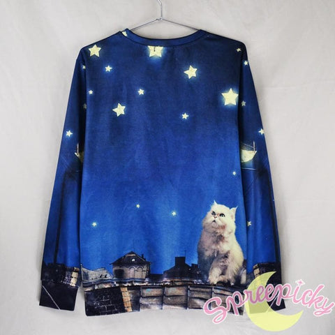 UNISEX Adorable Dreamy Cat Galaxy Sweater Jumper SP141511 - SpreePicky  - 3
