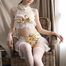 Load image into Gallery viewer, Valentine White Lace Ruffle Bow Winged Lingerie SP13450