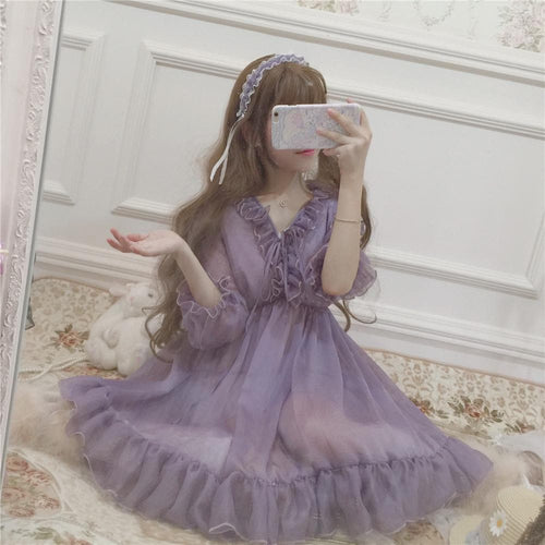 Vintage Falbala Lolita Chiffon Dress SP14390