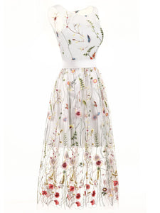 Vintage Floral Lace Embroidery Dress