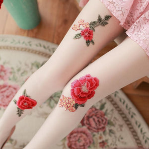 Vintage Paeonia Embroidery Tights SP1811763