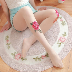 Vintage Paeonia Embroidery Tights SP1811763-SpreePicky FreeShipping