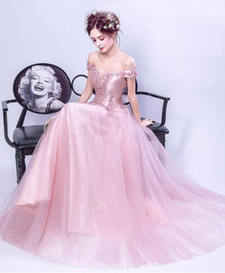 Pink V Neck Tulle Lace Long Prom Dress, Pink Evening Dress - DelaFur Wholesale