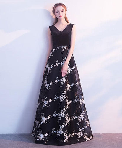Black V Neck Long Prom Dress, Black Evening Dress - DelaFur Wholesale