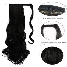 "Load image into Gallery viewer, 22"" Long Wavy Wrap Around Clip In Ponytail Hair Extension Heat Resistant Synthetic Natural Wave Pony Tail Fake Hair SS0237"