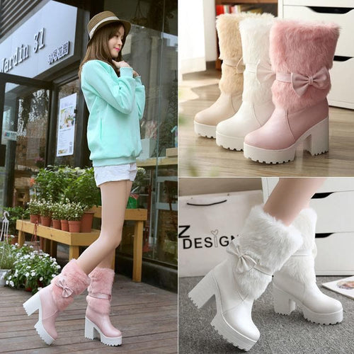 White/Beige/Pink Sweet Fluffy High Heel Boots SP1711037