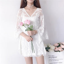 Load image into Gallery viewer, White/Beige Sweet Lace Batwing Sleeve Shirt SP13591