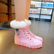 Load image into Gallery viewer, White/Black/Pink LED Light Fluffy Boots SP14278 - SpreePicky FreeShipping