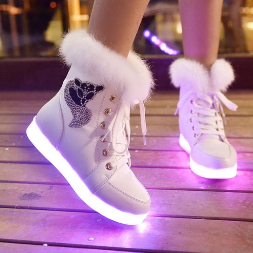 White/Black/Pink LED Light Fluffy Boots SP14278