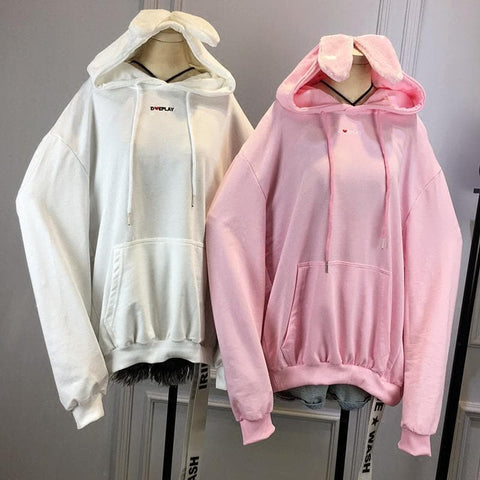 White/Black/Pink Loose Bunny Ear Hoodie Jumper SP1710704