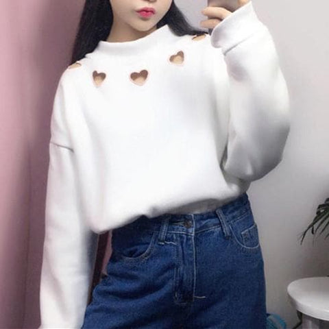 White/Black Hollow Heart Loose Jumper SP1710705