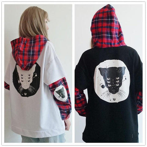 White/Black Kawaii Cartoon Grid Hoodie Jumper SP1710703