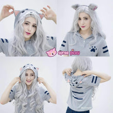 Load image into Gallery viewer, White/Gray Kawaii Cat Summer Hoodie Shirt SP166968