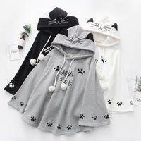 White/Grey/Black Kawaii Neko Paws Hoodie Poncho Cape S12965