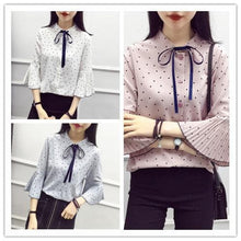 Load image into Gallery viewer, White/Grey/Pink Elegant Spot Flare Sleeve Blouse SP1710799