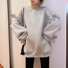 Load image into Gallery viewer, White/Grey Kawaii Bow Off-Shoulder Pullover Jumper SP14176