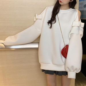 White/Grey Kawaii Bow Off-Shoulder Pullover Jumper SP14176