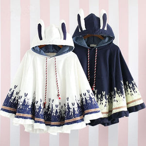 White/Grey/Navy Kawaii Bunny Ears Hoodie Poncho SP1710913
