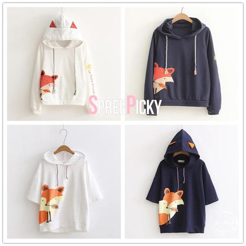 White/Navy Kawaii Little Prince Fox Hoodie SP1710985