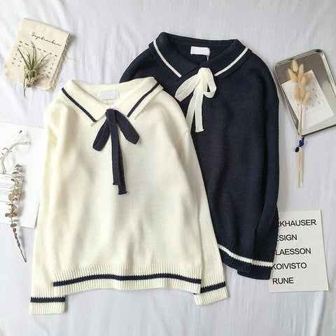 White/Navy Sweet Bow Knitting Sweater SP1711052