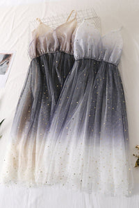 White/Pink/Beige Gradient Galaxy Tulle Gallus Dress SP13800