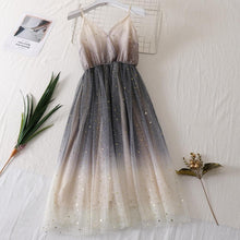 Load image into Gallery viewer, White/Pink/Beige Gradient Galaxy Tulle Gallus Dress SP13800